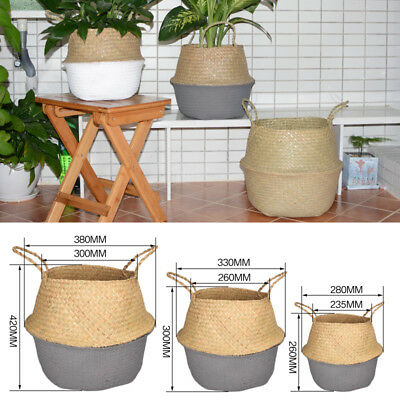 Seagrass Belly Basket Flower Plants Pots Laundry Storage Home Garden Organizer