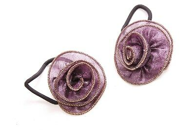 S566 Magnificent Ladies Shimmering Dark Purple Small Scrunchie with Wired Bow
