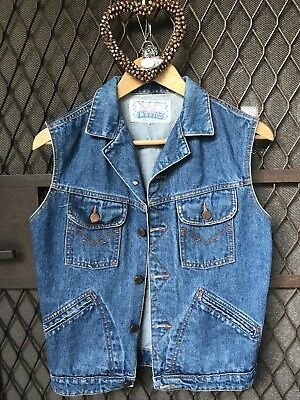 Vintage Denim Westco Vest With Embroided Doiley Detail Back.big Wardrobe Cull