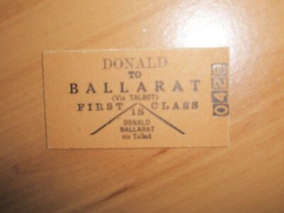 Victorian Railways Ticket Donald To Ballarat 1st Class Adult Single Mint