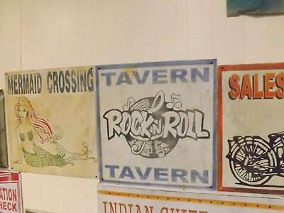 "Vintage Metal Rock N' Roll Tavern Sign 24"" x 24"" Music 1950's GAS OIL SODA"
