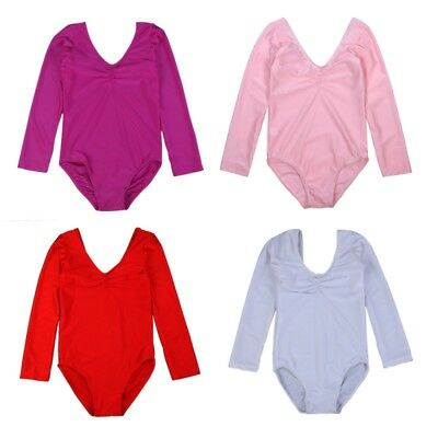 US Baby Girl Long Sleeve Gymnastics Leotard Long Sleeve Dance Wear Tights 4-11Y