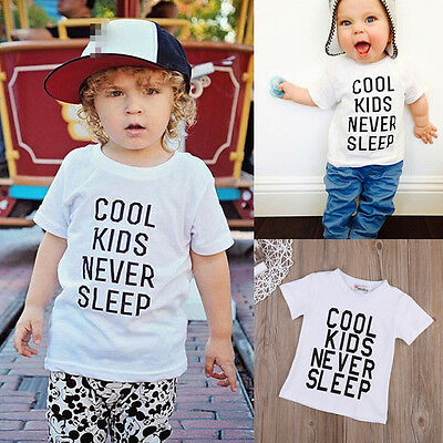 USA Summer Kids Baby Boys Letters Print Short Sleeve Tops Cotton O-Neck T Shirt