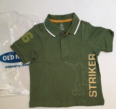 NWT Old Navy Boys Size 4 4T Green Soccer Striker #26 Polo Shirt