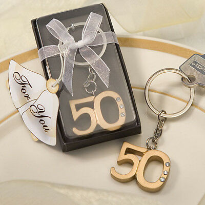 50th Golden Anniversary / Birthday Gold Key Rings ~ Gifts & Favors
