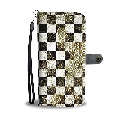 Awesome Cool Grungy Checkered Phone Case Wallet Black White Gold Vintage Tile