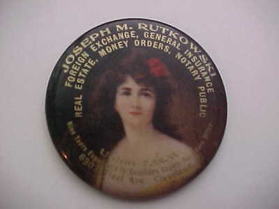 PRETTY LADY CELLULOID POCKET MIRROR - Cleveland, Oh. - Excellent!! - 1900