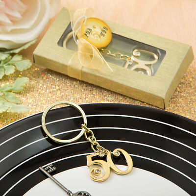50th Golden Anniversary / Birthday Gold Metal Key Ring ~ Gifts & Favors
