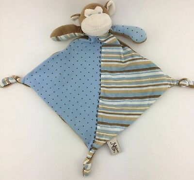 Maison Chic Monkey Security Blanket Baby Brown Blue Striped Polka Dot