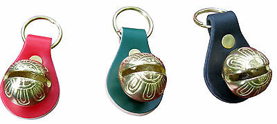 Hand Crafted - Red, Green, Black Christmas Key Rings With Solid Brass #1 Bell