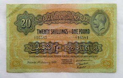 East Africa 20 Shillings 1 Pound 1933 VF