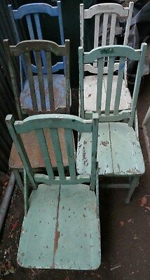 5 chairs kitchen dining wood old antique