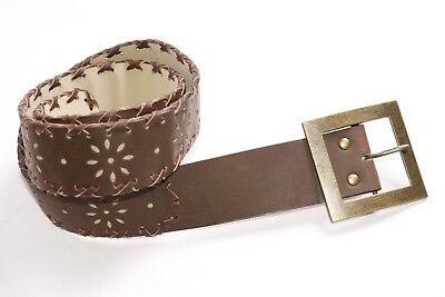 S376 Ladies Fashionable Hickory Brown Boho Hip Belt w Copper Buckle