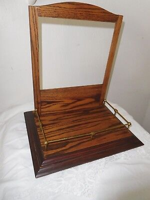 Antique Heavy Oak Shaving Mirror Table Top Valet Stand Vintage Brass Gallery