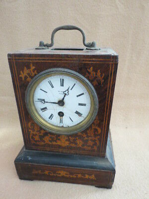 Antique French Rosewood Officer's Henri Marc Silk Susp. Clock For Restoration