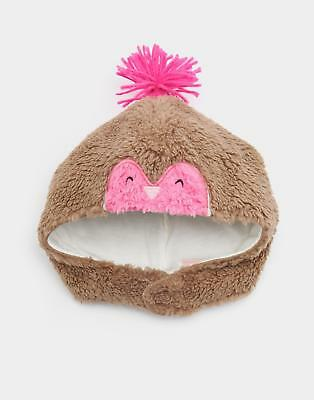 Joules Snuggle Girls Novelty Fluffy Hat with 3D Elements in Robin