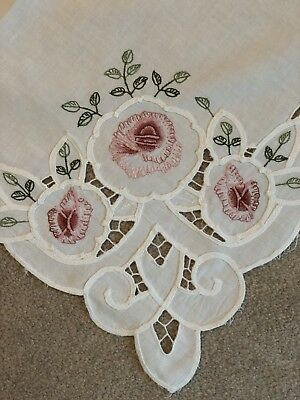 Embroidered Vintage Linen Tablecloth
