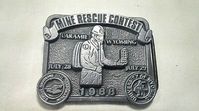 VTG Limited Edition Mine Rescue Contest Metal Belt Buckle 1988 Laramie Wyoming