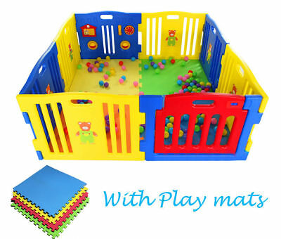 8 Side Large Foldable Plastic Baby Playpen Indoor & Outdoor With Playmats UK