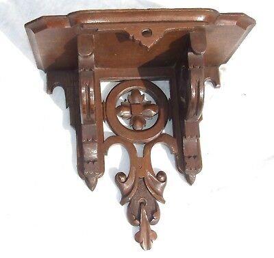LARGE Antique GOTHIC Oak Carved Bracket Clock Bracket / Wall Bracket / Shelf