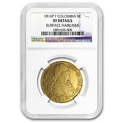 1816 P-F Colombia Gold 8 Escudo Ferdinand VII XF Details NGC - SKU#169473