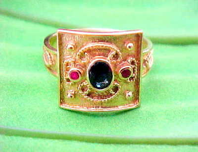 14k Solid Gold Etruscan Byzantine Style Ruby Sapphire Ring skaisMAY18