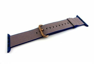Genuine Apple Woven Nylon Band for Apple Watch - 42mm Royal Blue, Rose Gold (VG)