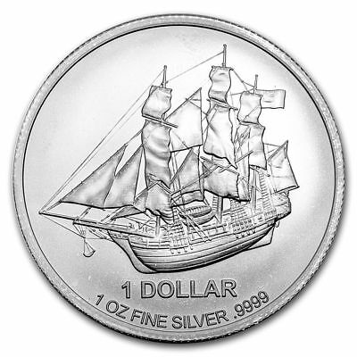 2016 1 oz Cook Islands Silver Bounty Coin (BU) with Light Spotting