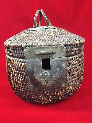 Antique Primitive Chinese Weaved Basket with Iron Handles Tea Caddy