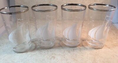 VTG Mid-century Sailboat Glasses With Silver  Halo Lot 4 Sailing Nautical