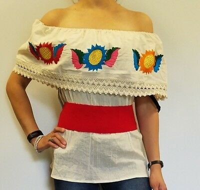 Peasant Kimono Tunic Hippie Embroidered Mexican Huipil Dress 100
