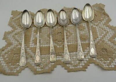 "Group Of Six Antique Norway 830 Sterling Large 9"" Serving Spoons 344 Grams"