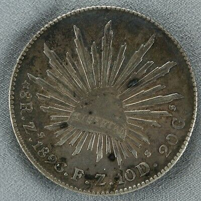 1896 Mexico 8 Reales Zacatecas Xf Extra Fine Au About Uncirculated (4836)