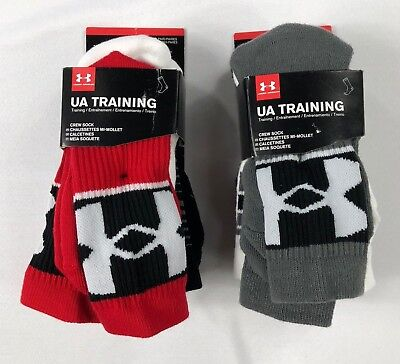 Boy's Youth Under Armour Crew Training Socks 3 Pack