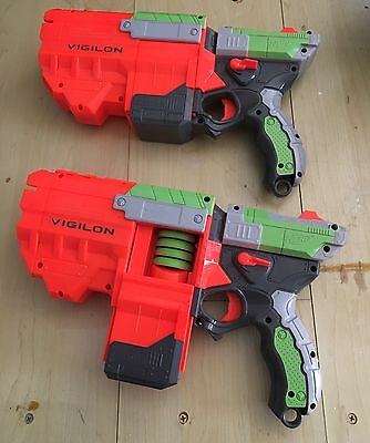 Nerf Vigilon Toy Dart Gun (lot Of 2) W/darts VIBRANT ORANGE & GREEN FUN KIDS
