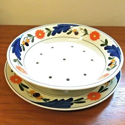 1920s Rigways Bedford Ware Hand Painted Floral Cress Dish and Plate 6701