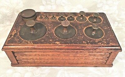 Antique Brass Weight Set with Ornate Wood Base & Sheet Weights 1 Weight Missing