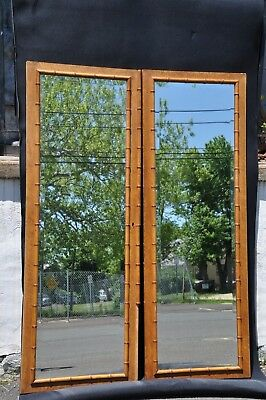 Victorian Burl Wood And Bamboo Beveled Mirror Armoire Doors