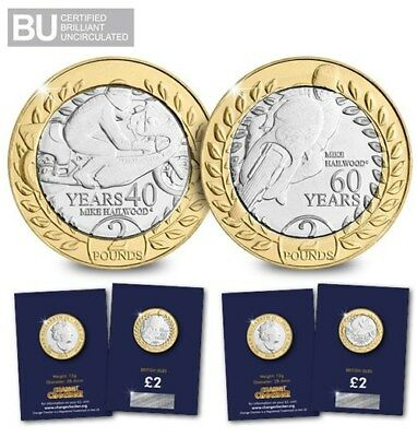 2018 Isle of Man TT Race £2 Coins Set MIKE HAILWOOD  TWO POUNDS £2 COINS