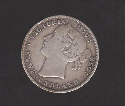 1885 NEWFOUNDLD SILVER 20 CENT Low Mintage Coin 40M NICE DETAIL