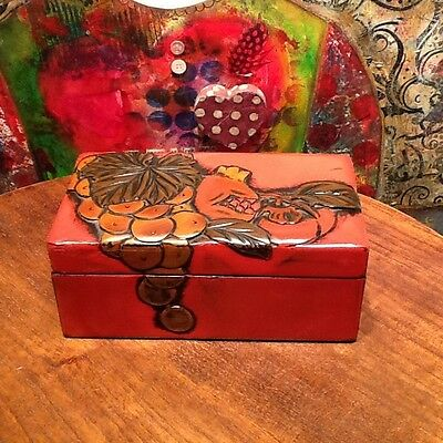 Vintage Chinese Red Lacquered Ornamental Trinket Box,Tropical Theme