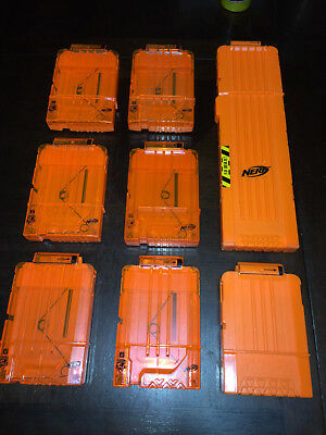 Lot 8 Nerf Elite Clear Front 6 and 18 Round Dart Gun Magazine Clips Hail-Fire