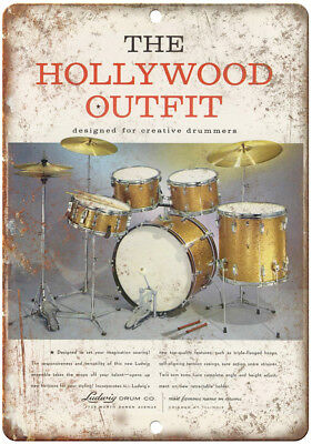 """Ludwig Drum Co The Hollywood Outfit Ad 10"""" X 7"""" Reproduction Metal Sign R04"""