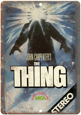 """John Carpenter's The Thing VHS Cover 10"""" x 7"""" Reproduction Metal Sign"""