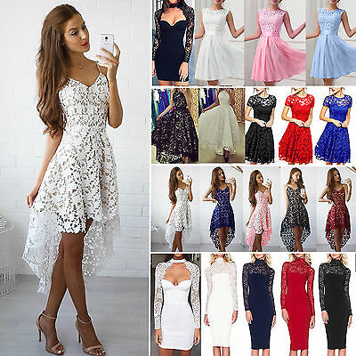 Plus Size Womens Lace Mini Dress Prom Evening Party Cocktail Bridesmaid Wedding