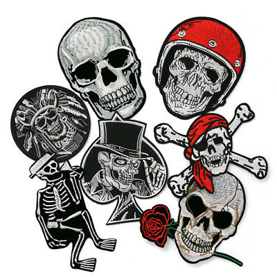 Punk Skull Embroidery Patch Sew On Iron On Badge Applique Craft Sticker Transfer