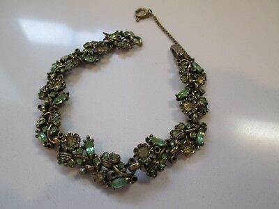 HOLLYCRAFT 1950 Bracelet With Green Stones & Safety Chain