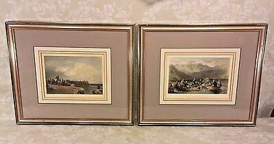 Antique Pair of Color Engravings of Nautical Scenes Matted and Framed J C Armyta