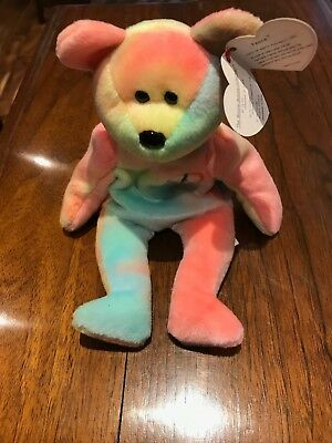 TY beanie baby Peace Bear 1996 Tie Dye Bear. Mint Condition with original tag
