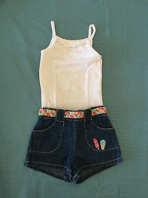 (2T) Popsicle Party Embroidered Shorts & Ruffle Tank Outfit Lot FREE SWEATER